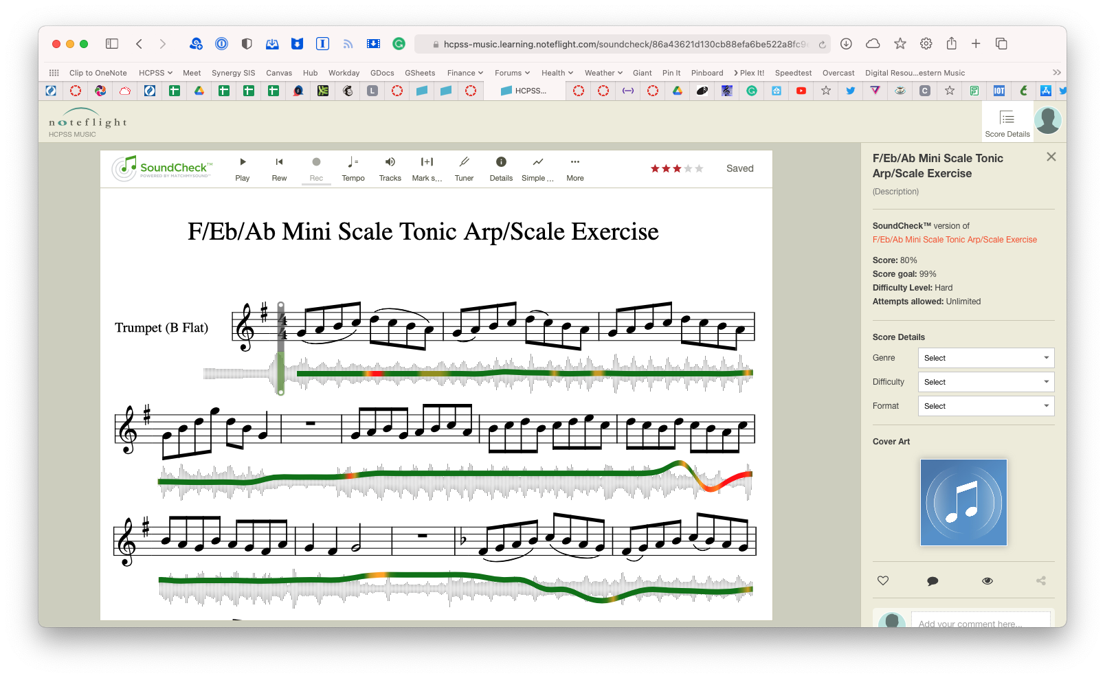 sheet music on SoundCheck software